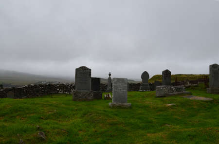 Grave stones in the Highlands on the Isle of Skye in Scotland.