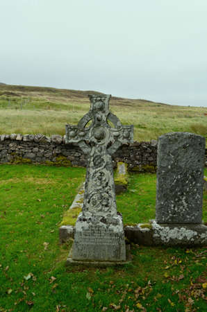 Celtic stone cross on the Isle of Skye in Scotland. 写真素材 - 143382465