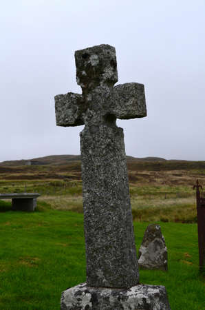 Cross grave stone found on the Isle of Skye in Scotland.