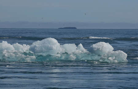 Beautiful photo of icebergs and the waters of the lagoon