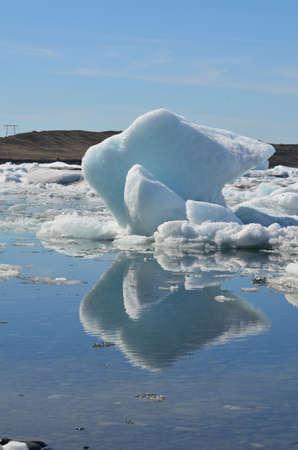 Unique shaped glacier in an Icelandic lagoon