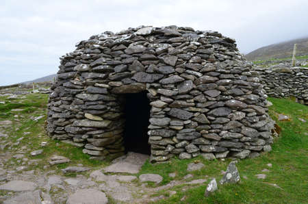 Clochan beehive huts in Dingle Ireland.