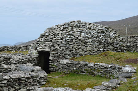 Stone beehive huts in County Kerry.