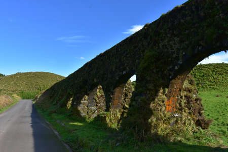 Aqueduct with arches in the countryside of Sao Miguel.