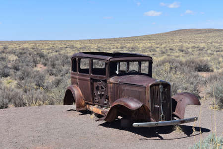 Iconic 1931 rusted out Studebaker on Route 66 in Arizona.