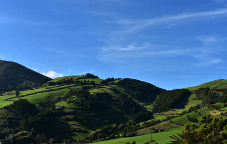 Fantastic lush green fields and rolling hills with blue skies. 스톡 콘텐츠