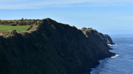 Sao Miguel's beautiful coastline with towering sea cliffs.