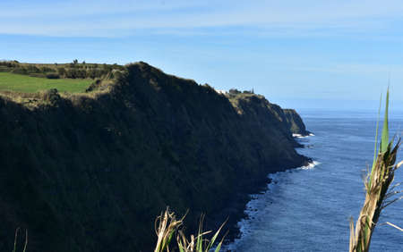 Beautiful sea cliffs running along the shoreline of Sao Miguel.