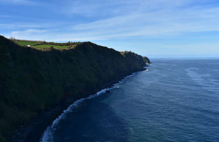Beautiful scenic coastal sea cliffs on Sao Miguel.