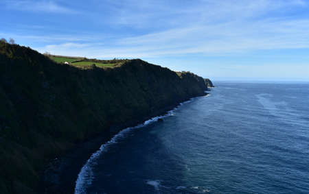 Beautiful scenic view of sea cliffs along the shoreline of Sao Miguel.