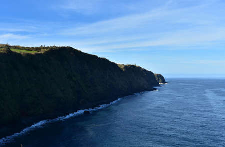 Fantastic sea cliffs along the Sao Miguel coastline on a perfect day.