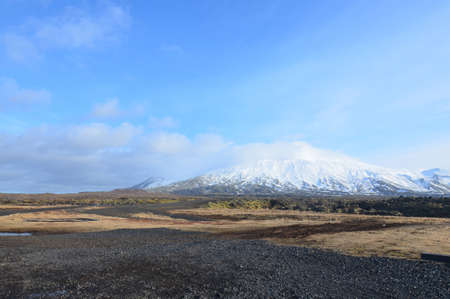 Iceland's Snaefellsjokull glacier off in the distance on a summer day.