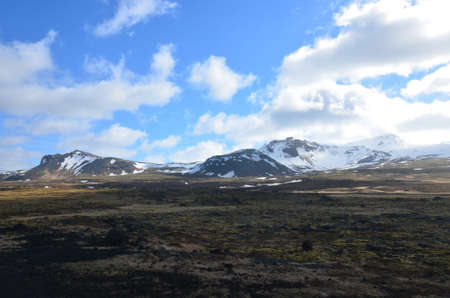 Stunning snow capped mountains in western iceland  写真素材