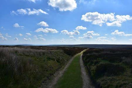 Coast to coast dirt pathway through the Northern Yorkshire moorland.