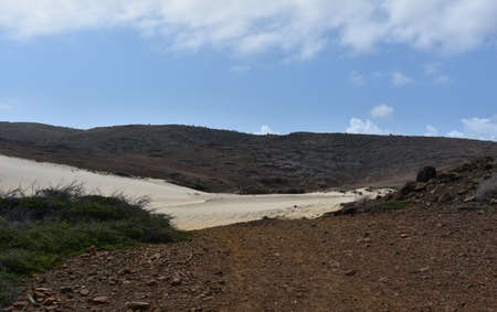 White sand dunes flowing through Arikok National park in Aruba.