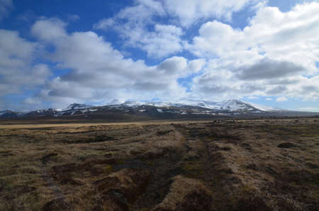 Iceland's Snaefellsjokull glacier in the distance with clouds looming. 写真素材
