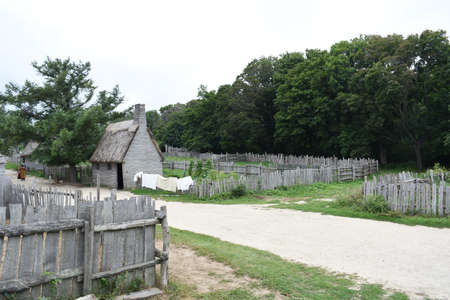 Laundry drying on a fence in Plimoth Plantation's colonial village.