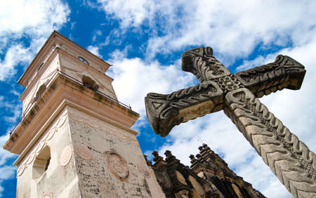 granada: Stone cross outside of Iglesia de la Merced in Granada, Nicaragua  Central America