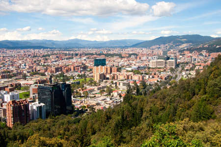 surrounding: View of Bogota, as seen from the mountains in the north of the capital  Colombia