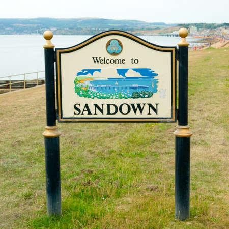 Sandown (bay) welcome sign. Isle of Wight England UK, east coast. Stock Photo