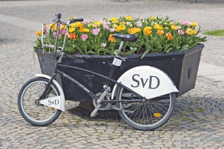 blumen: Stockholm, Schweden - 11. Mai 2012: Fr�hling mit Fahrrad in Stockholm