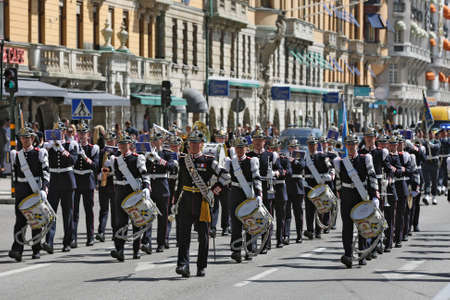 Stockholm, Sweden - 15 May 2013  Musicians of Royal Military Band marching in the streets of Stockholm