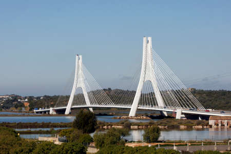 ALGARVE, PORTUGAL - MARCH 16: Cable Stayed Bridge built in 1992 in the near from Portimao, Algarve, Portugal on March 16, 2015