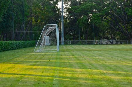football field Is a green lawn That has been beautifully trimmed Reklamní fotografie - 133032863