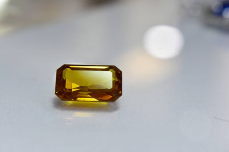 Yellow gem And beautiful gemstone rings Reklamní fotografie