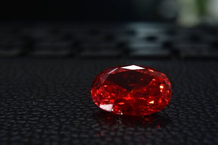 Red gem Is an oval ruby gemstone Shiny and beautiful for jewelry making