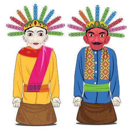 Ilustración vectorial Cultura marioneta indonesia ondel-ondel icono de Yakarta