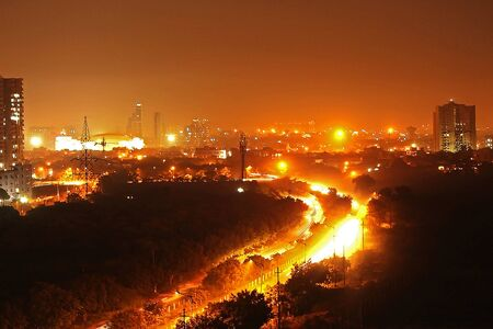 view of the cityscape of Noida at night