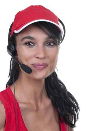 brunette with red hat operator isolated photo