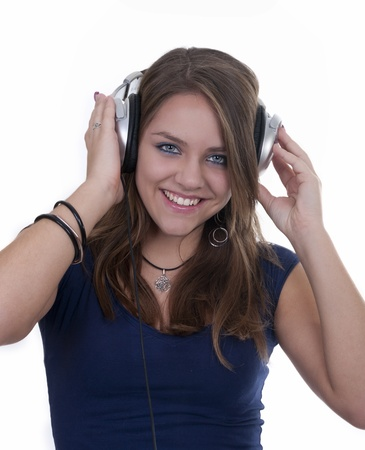 smiling girl with headphones isolated photo