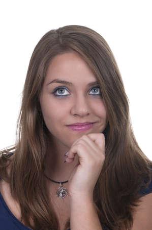 pensive girl isolated photo