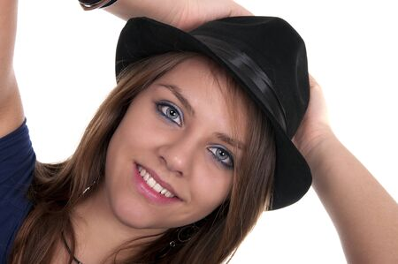 smiling girl with black hat isolated photo