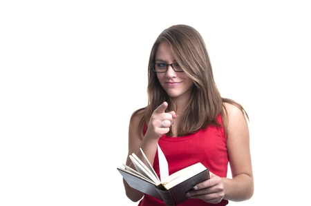 young student with glasses and book isolated photo