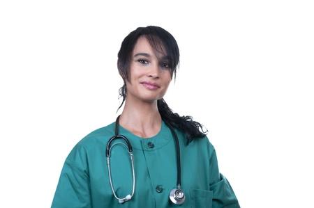 pretty nurse in green isolated Stock Photo - 9894355
