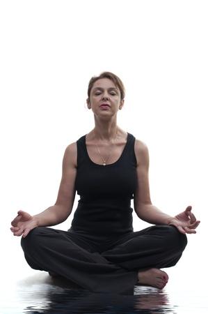 woman practicing yoga isolated photo