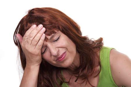 he said: redhead woman with migraine