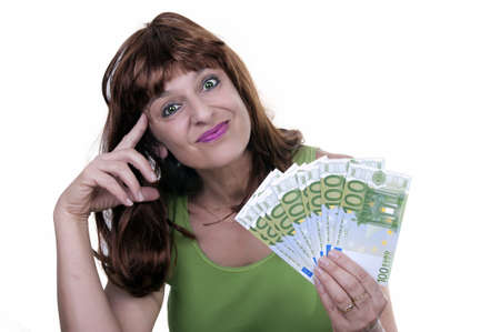 young woman with money isolated photo