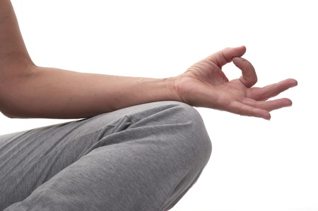 yoga hands with white background photo