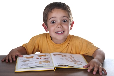 smiling child reading at his desk Stock Photo - 10411740