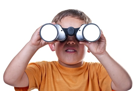 scout: child with binoculars on a white background