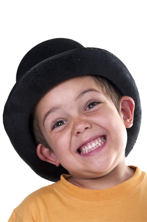 child with a top hat on a white background photo
