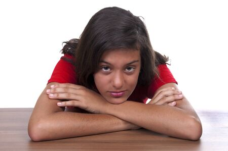 afflict: melancholy brunette teenage girl on white background