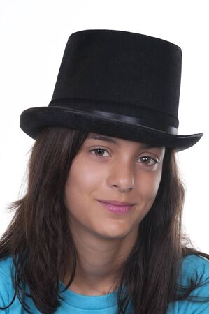 Teenage girl with top-hat on white background Stock Photo - 10411850