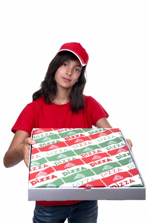 teenage pizza delivery girl on white background photo