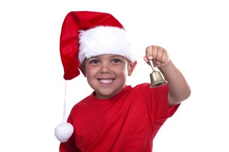 adorable boy dressed as Santa Claus on white background Stock Photo - 10411739
