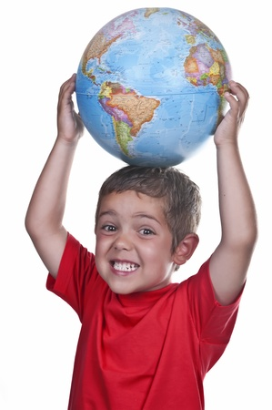child with a globe on his head photo